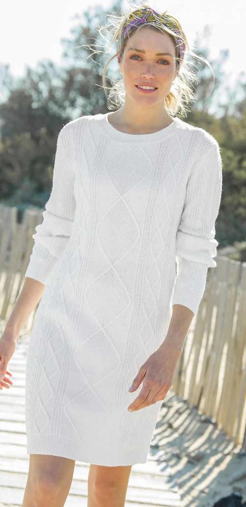 pletené šaty s dlouhým rukávem