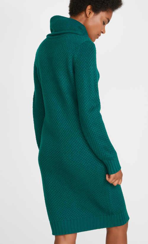 pletené šaty tmavě zelené