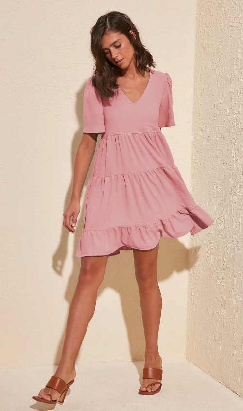 šaty nad kolena s volánem