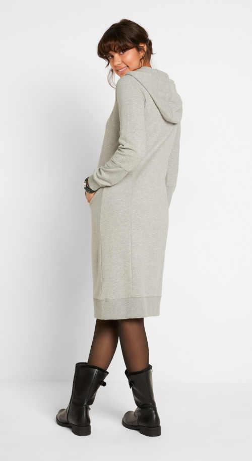 šedé mikinové šaty s kapucí